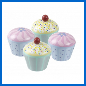 Set of 4 Wooden Cupcakes