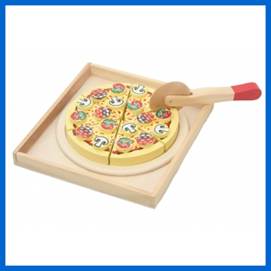 Wooden Pizza With Toppings