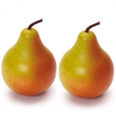 2 x Wooden Green and Red Pears