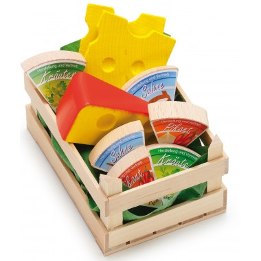 Wooden Crate of Assorted Cheeses