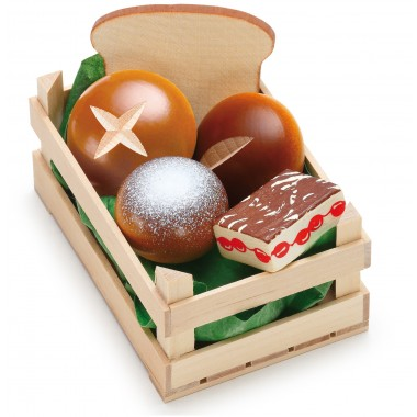Wooden Crate of Assorted Baked Goods