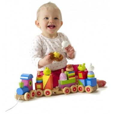 Pull Along Wooden Animal Puzzle Train