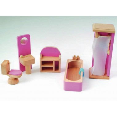 Pink Dolls House Bathroom Set