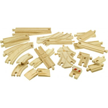 BigJigs Wooden Train Track Expansion Set (25 pieces)