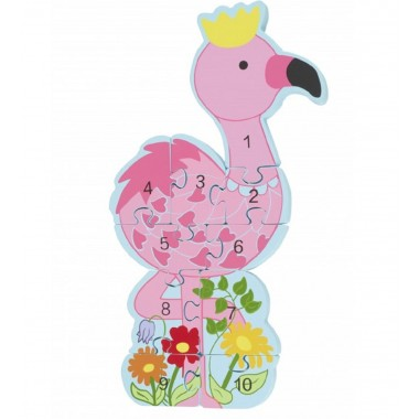 Flamingo Wooden Number Puzzle
