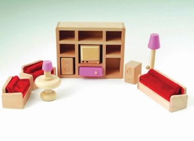 Pink Dolls House Living Room Set