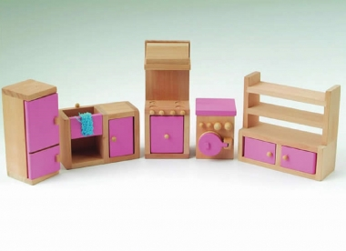Pink Dolls House Kitchen Set