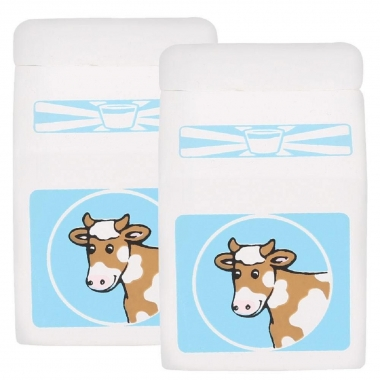 2 x Wooden Milk Cartons