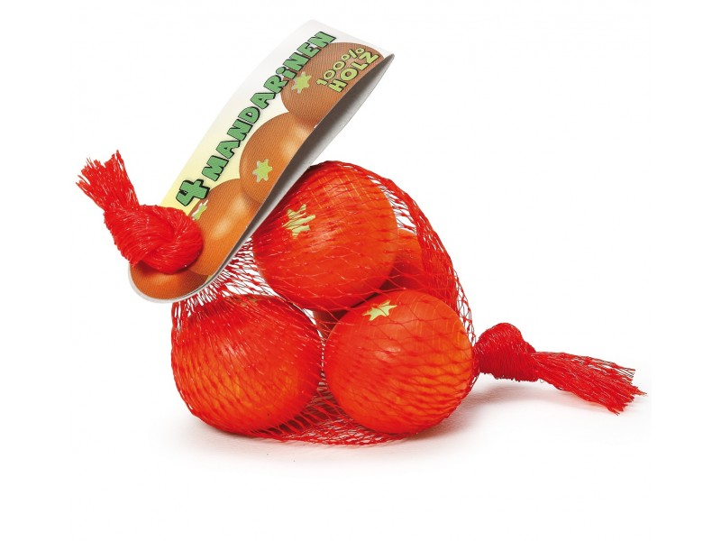 4 x Wooden Tangerines in a Net