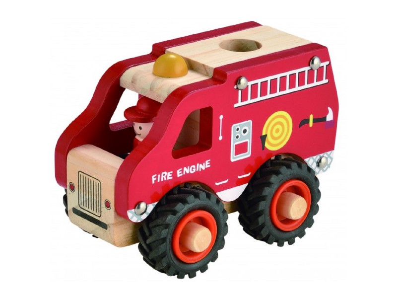 Wooden Fire Engine with Rubber Wheels
