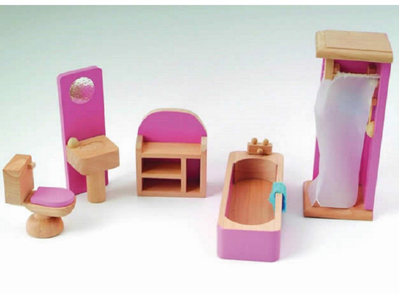 Pink Dolls House Bathroom Set