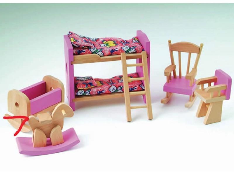 Pink Dolls House Childrens Bedroom Set