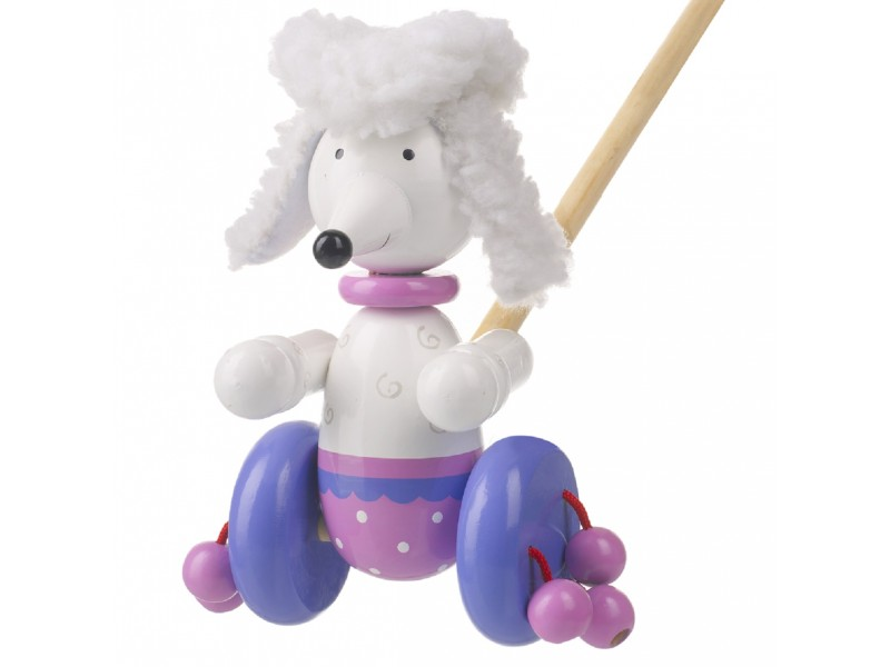 Push Along Wooden Pom Pom the Poodle