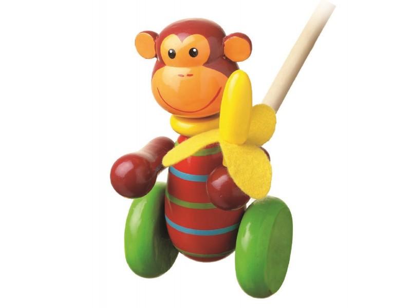 Push Along Wooden Monkey