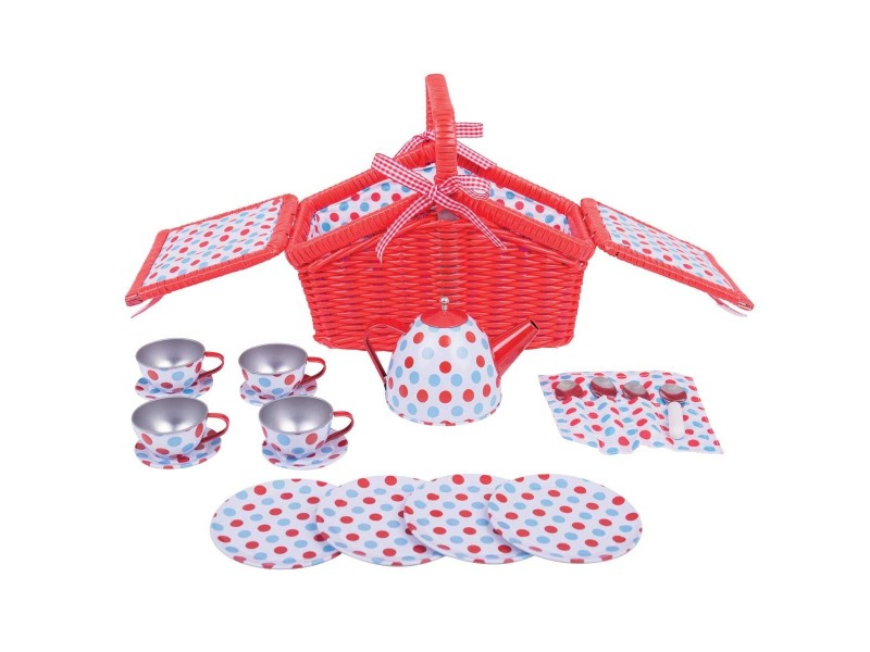 BigJigs Spotted Picnic Basket Tea Set