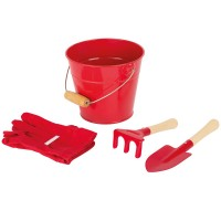 Red Bucket with Tools and Gloves