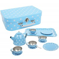 Blue Polka Dot Tin Tea Set in a Case