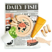 Wooden Fish and Chips Supper Set