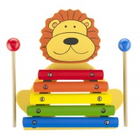 Our wooden Lion Xylophone features five metal keys, is hand painted in a rainbow of bright colours and includes two wooden beater sticks.