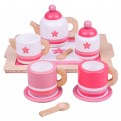 Pink Wooden Tea Set and Tray