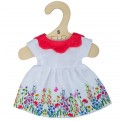 White Floral Dress with Red Collar (for 28cm Doll)