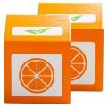 2 x Wooden Orange Juice Cartons