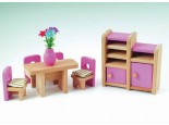 Pink Dolls House Dining Room Set
